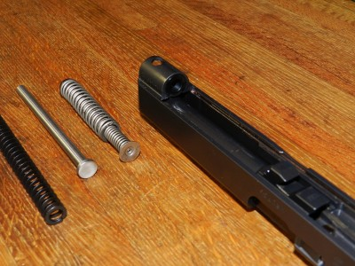 Recoil spring retaining washer installed in Gen4 Glock 34 slide.