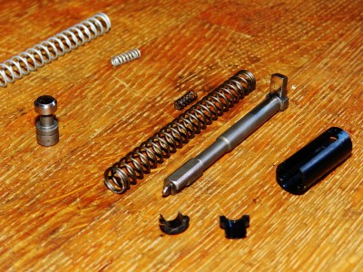 Firing pin and plunger polished, ready to reinstall with Zev Spring Kit.